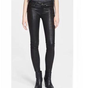 NWT RAG & BONE Lambskin Leather Skinny Black Pants